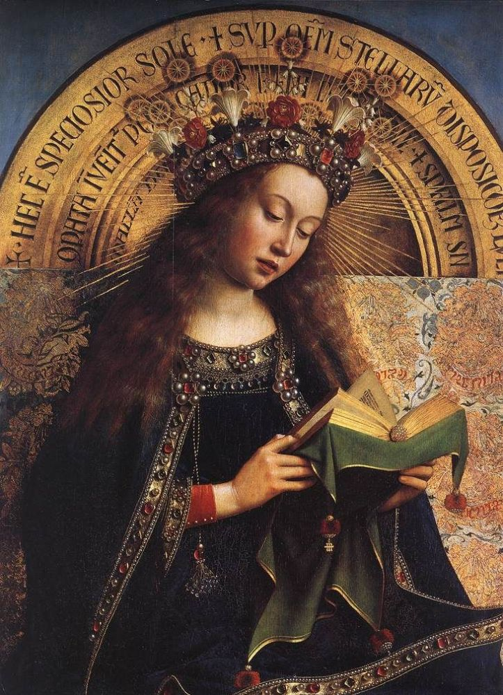 Ghent Altarpiece detail of Virgin Mary Jan van Eyck