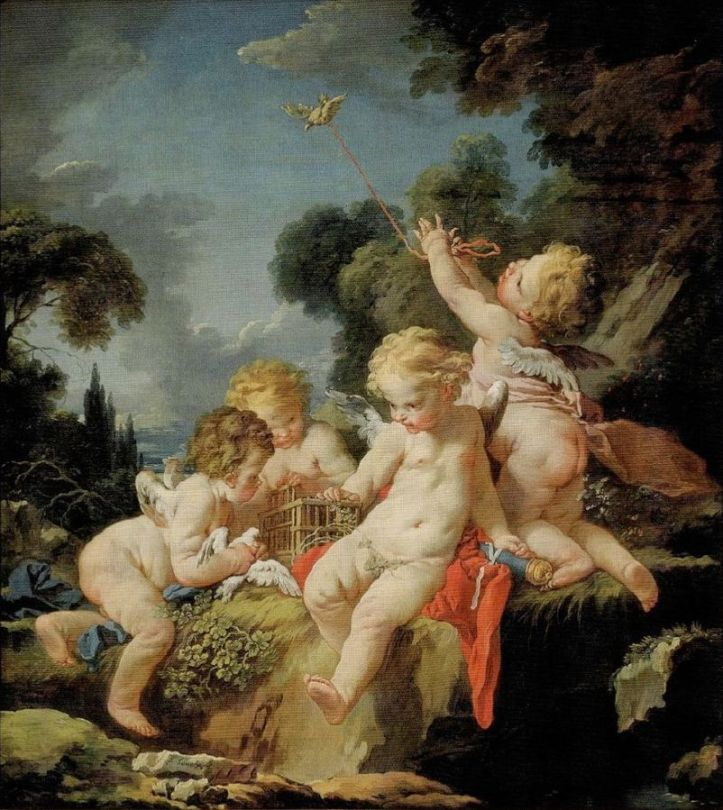 Putti with bird